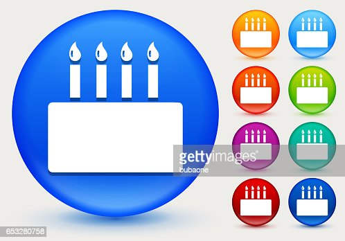 Birthday Cake Icon on Shiny Color Circle Buttons : Vector Art