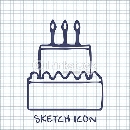 Birthday Cake Sketch Icon Food Symbol Vector Art Thinkstock