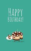 Happy birthday card. Funny birthday chocolate cake with cherries. Vector illustration.