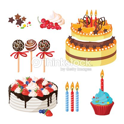 Cake Similar Artists : Birthday Cakes And Attributes Colorful Poster On White ...