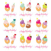 Birthday card set. Festive sweet numbers from 61 to 69. Coctail straws. Funny decorative characters. Vector illustration