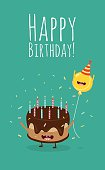 Happy birthday card. Funny birthday cake and balloon friends. Vector illustration.