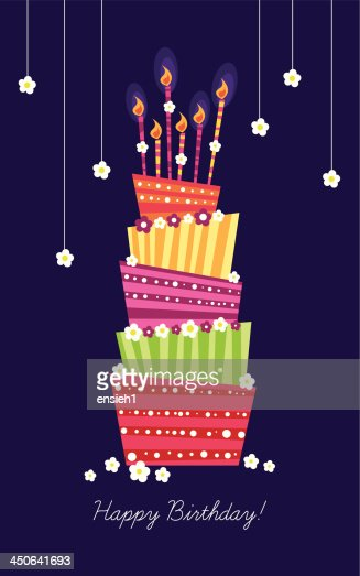 Birthday Card With A Big Beautiful Cake Vector Art Thinkstock