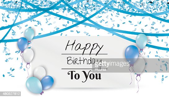 birthday card with balloons and ribbons : Vector Art