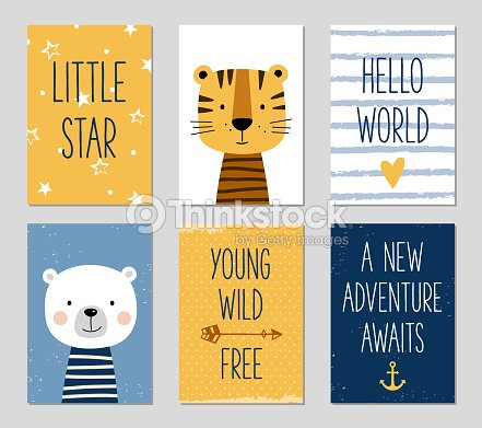 Birthday Cards With Cartoon Tiger And Bear For Baby Boy And Kids