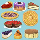 Birthday celebration cream cake pie vector illustration holidays food collection. Wedding or birthday cake sweet dessert homemade pie. Cream brownie topped pie isolated on white