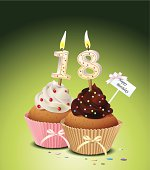 Birthday cupcake with candle number 18,