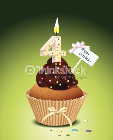 Birthday Cupcake With Candle Number 4
