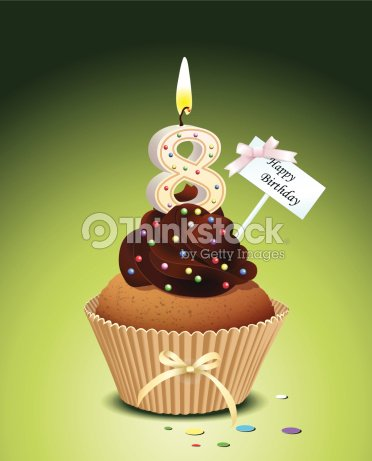 Birthday Cupcake With Candle Number 8