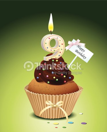 Birthday Cupcake With Candle Number 9