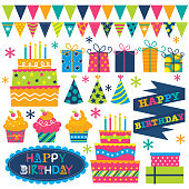 a set of cute vector birthday illustration designs. EPS 10 and hi-res jpg included