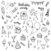 birthday doodle collection drawn hands elements, isolated on white background