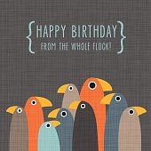 Birthday greeting card with group of funny standing birds on grey background