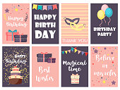 Birthday greeting cards vector design happy party invitation celebration gift anniversary background. Event, typography banner festive holiday glitter brochure illustration.