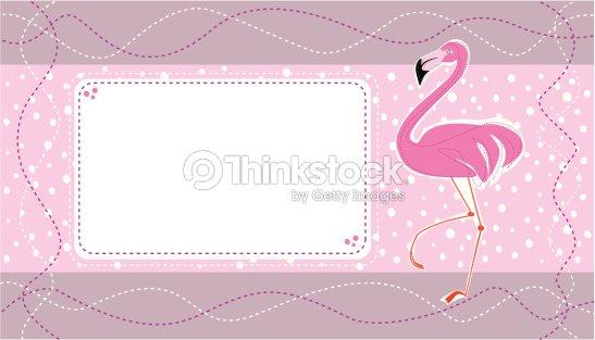 Invitation Carte Danniversaire Avec Un Joli Flamant Rose Clipart