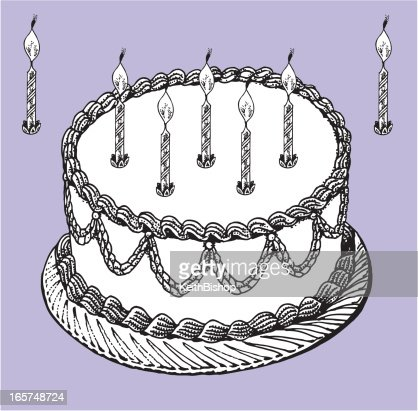 Birthday or Anniversary Cake - Celebration with Candles : Vector Art
