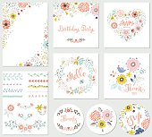 Birthday floral card set with decorative flowers, butterfly, branches, floral wreath and pattern brushes. Good for greeting cards, birthday party invitations, thank you and RSVP cards, posters and man