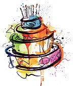 Image shows a birthday cake (watercolor); vectorimage with only one layer, without opening shapes and gradients; big jpeg (350DPI); digital drawing with free wild style; fantasy drawing; better for wh