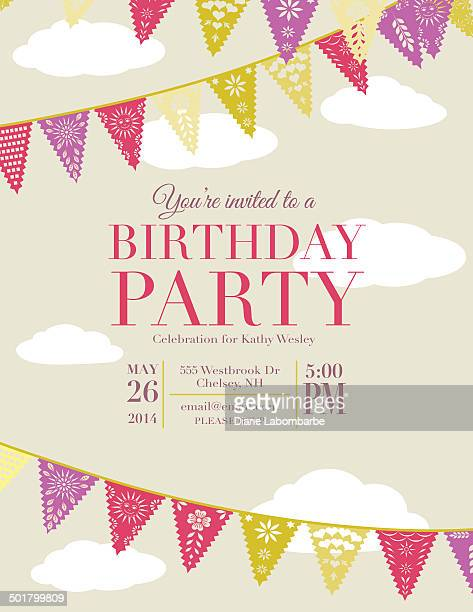 Birthday party invitation with triangle flags
