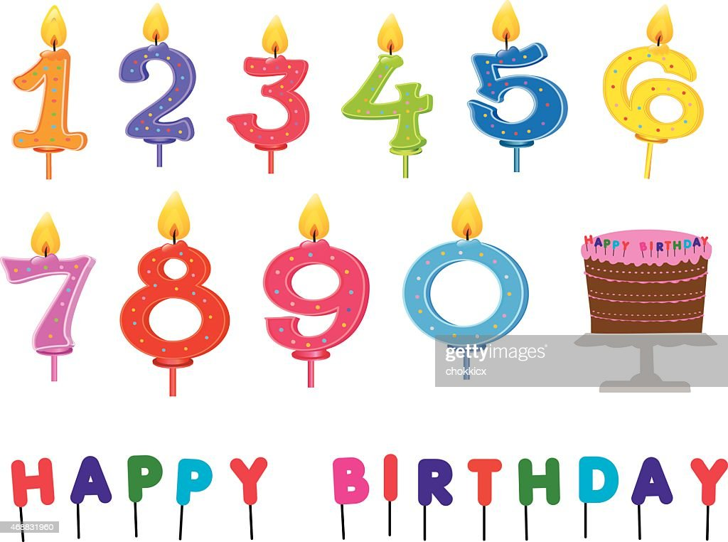 Birthday Party Kit With Candles And Cake Vector Art Getty Images