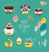 Funny birthday set. Birthday cake, invitation, clown, balloons, gifts, candles. Vector illustrations.