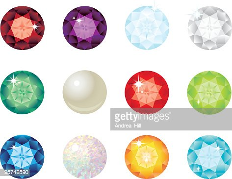 birthstone gems for each month of the year vector
