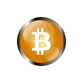 Bitcoin crypto currency blockchain flat logo a colored triangular background. Block chain bitcoin sticker logo for web or print.