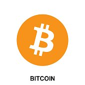 Bitcoin crypto currency blockchain flat logo isolated on white background. Vector illustration