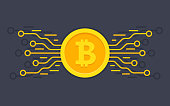 Bitcoin digital currency. Digital money concept. vector illustration