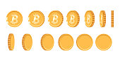 Bitcoin gold coin at different angles for animation. Vector Bitcoin set. Finance money currency bitcoin illustration. Digital currency. Vector icon.