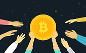 Bitcoin golden symbol concept vector illustration of people funding and investmenting for bitcoin. Flat human hands hold gold coin and other trying to get crypto currency on dark background