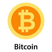 Bitcoin icon. Flat illustration of bitcoin vector icon for web