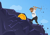 Bitcoin mining concept. Business man digging coin from the rock