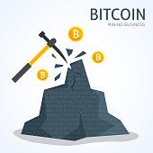 Bitcoin mining concept. Earning cryptocurrency. Flat style vector illustration.