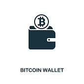 Bitcoin Wallet icon. Monochrome style design from crypto currency collection. UI. Pixel perfect simple pictogram bitcoin wallet icon. Web design, apps, software, print usage.