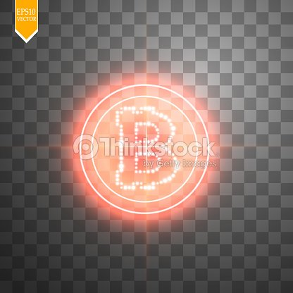 Bitcoin With Neon Red Target On The Transparent Background Light Vector Art
