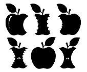 Bitten apple silhouette