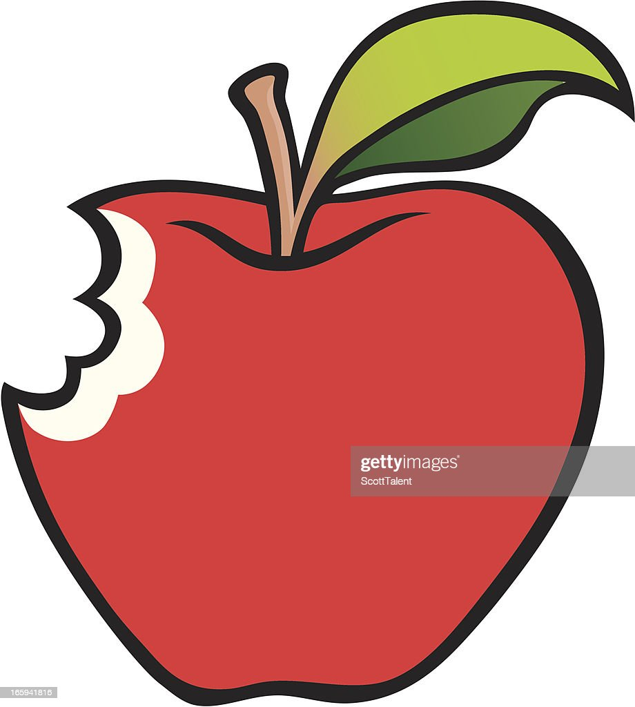 bitten apple vector art getty images