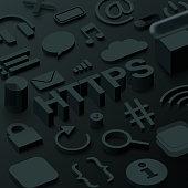 Black 3d htpps background with web symbols. Vector illustration.