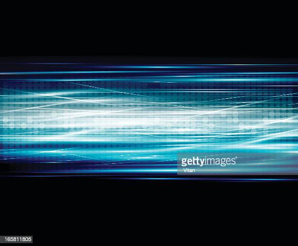 Black abstract background with blue and white lines