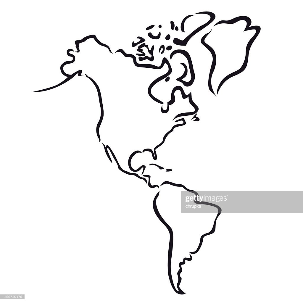 Black Abstract Outline Of North And South America Map Vector Art