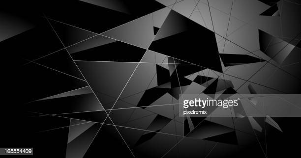 A black abstract shattered glass background