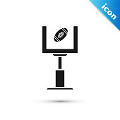 Black American football goal post and football ball icon isolated on white background.  Vector Illustration