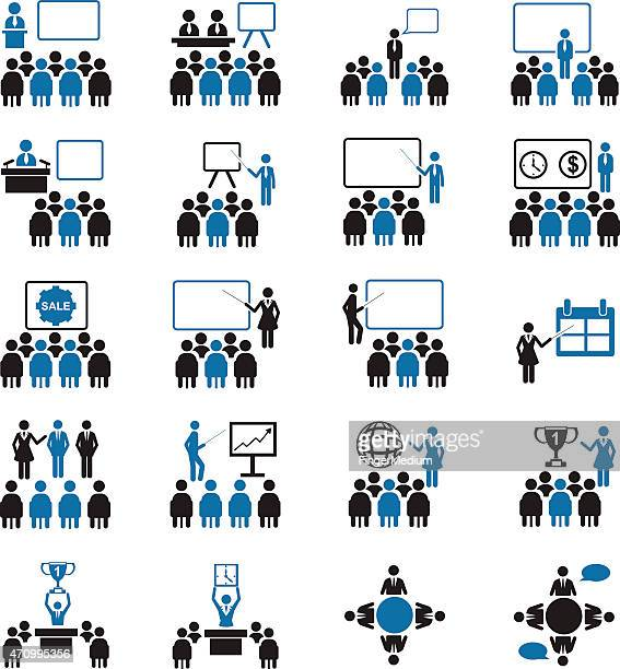 Black and blue business conference icon set