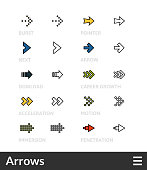Black and color outline icons, slim line pictograms vector set 47 - Arrows symbol collection