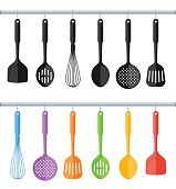 Black and colorful hanging plastic kitchen utensil set. Flat concept illustration of cooking tools. Vector cook equipment collection. Group of kitchenware appliances isolated on white background.
