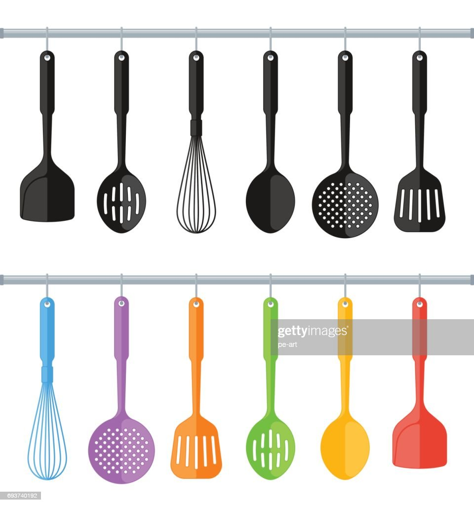 Black And Colorful Plastic Kitchen Utensils Isolated On White Background. :  Vector Art
