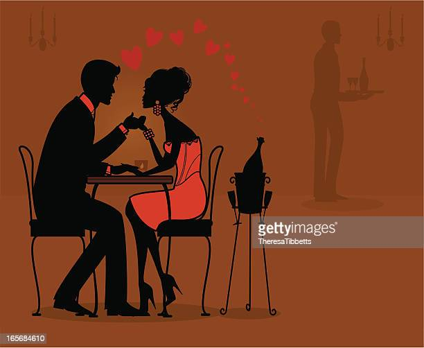 Black and pink illustration of a couple at a romantic dinner