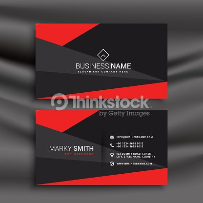 Black And Red Business Card Template With Polygonal Shapes Vector