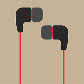 Black and red earphones flat icon isolated on brown background. Simple earphones in flat style, vector illustration. Concept of meloman items, earbud, ear plugs, multimedia, hipster lifestyle, tune, s